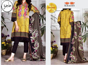 Khaadi Collection Full Suit On Lawn With Chiffon Printed Dupatta Neck Embroidered - Replica - Unstitched
