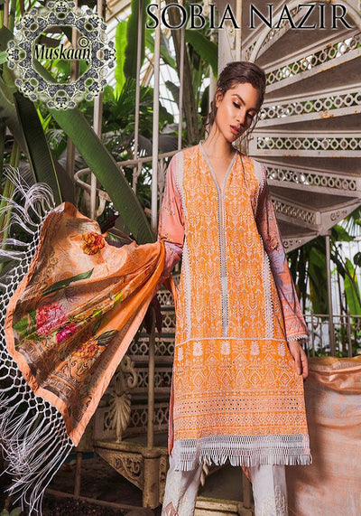 Sobia Nazir Lawn Collection Silk Dupatta Cambric Cotton Trouser - Replica - Unstitched