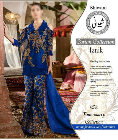 Iznik Cotton Suit Front Embroidered - Replica - Ustitched