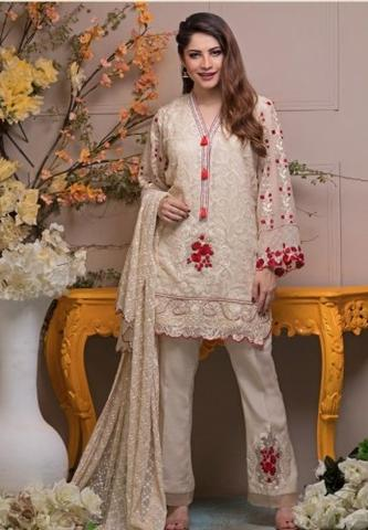 Neelam Muneer Chiffon Embroidered Suit (Replica) (Unstitched)