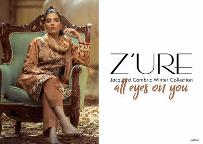 Party Wear Printed Jacquard Cambric Dresses - Printed Chiffon Dupatta  - Replica - Unstitched