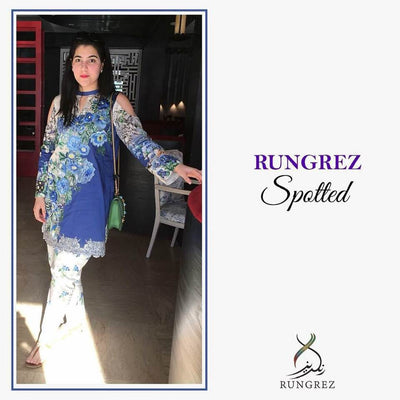 Rungrez Lawn Dresses - Digital Printed Silk Dupatta  - Replica - Unstitched