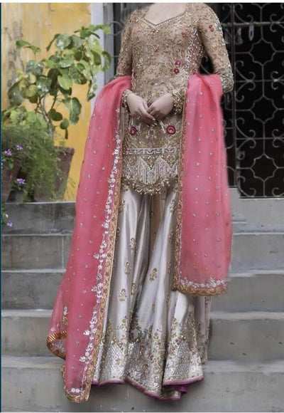 Erum Khan Satin & Silk Dresses - Embroidered Net Duppata Premium Couture 2020