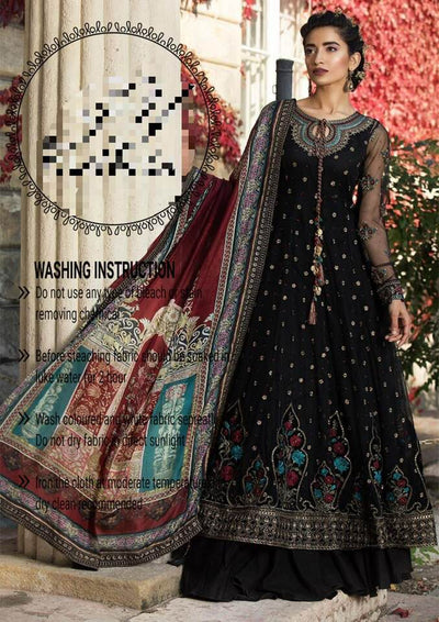 Maria B Silk Dresses - Digital Printed Silk Dupatta  - Replica - Unstitched