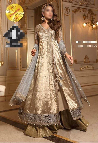Maria B Crinkle Satin Silk Dresses - Embroidered Net Dupatta  - Replica - Unstitched