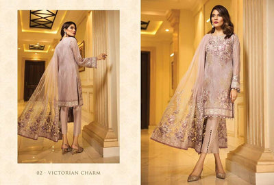 Jazmin Chiffon Dresses - Embroidered Net Dupatta  - Replica - Unstitched