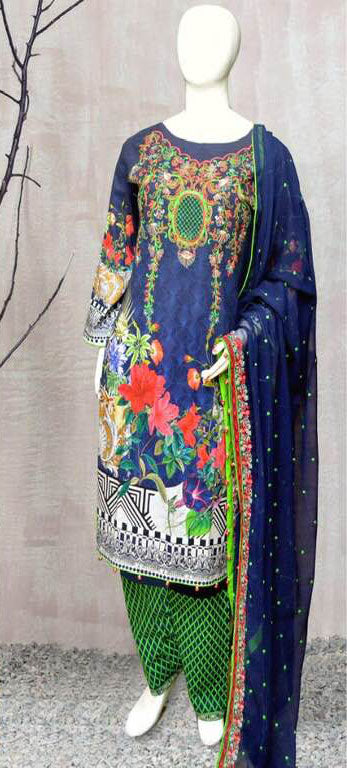 Maria B Lawn Cotton Dresses - Embroidered Chiffon Dupatta  - Replica - Unstitched