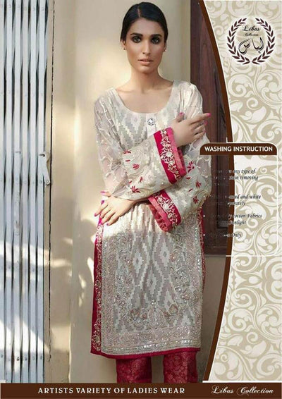 Party Wear Organza Dresses - Embroidered Net Dupatta  - Replica - Unstitched