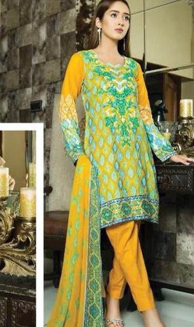 Shiwani Lawn Dresses - Embroidered Chiffon Dupatta - Replica - Unstitched