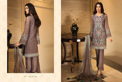 Jazmin Chiffon Dresses - Embroidered Chiffon Dupatta  - Replica - Unstitched