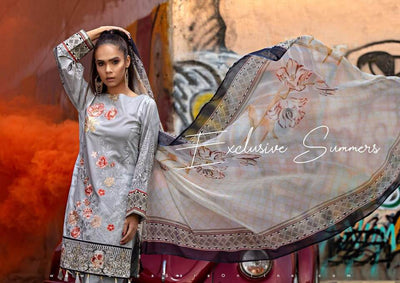 Party Wear Printed Lawn Dresses - Printed Chiffon Dupatta - Replica - Unstitched