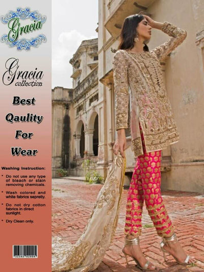 Party Wear Net Dresses - Embroidered Net Duppata - Replica - Unstitched