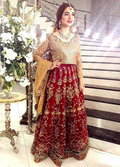 Zara Ahmed Net & Chiffon Dresses - Embroidered Net Duppata - Replica - Unstitched