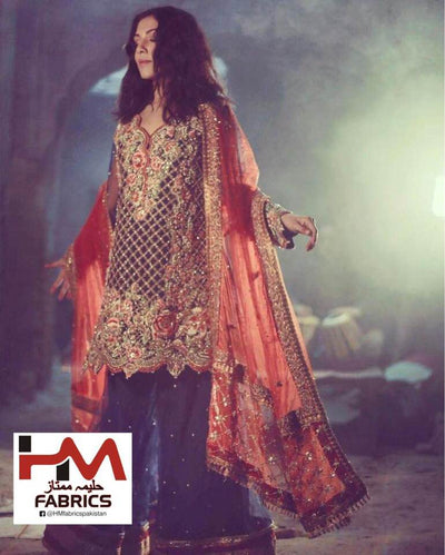 Tena Durrani Chiffon Dresses - Embroidered Net Dupatta - Replica - Unstitched