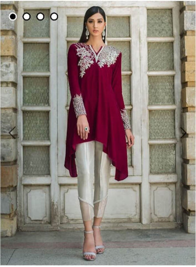 Zainab Chottani Velvet Dresses - Embroidered Net Duppata - Replica - Unstitched