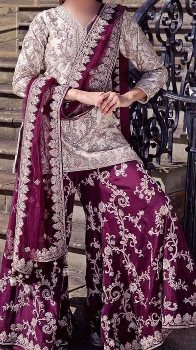 Party Wear Chiffon Dresses - Embroidered Chiffon Dupatta - Replica - Unstitched