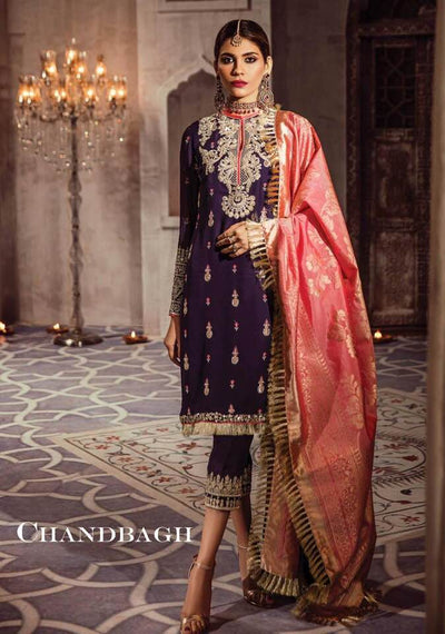 Anaya Chiffon Dresses - Embroidered Organza Dupatta - Replica - Unstitched