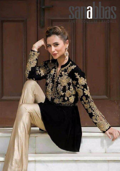Sana Abbas Velvet Dresses - Embroidered Net Duppata - Replica - Unstitched