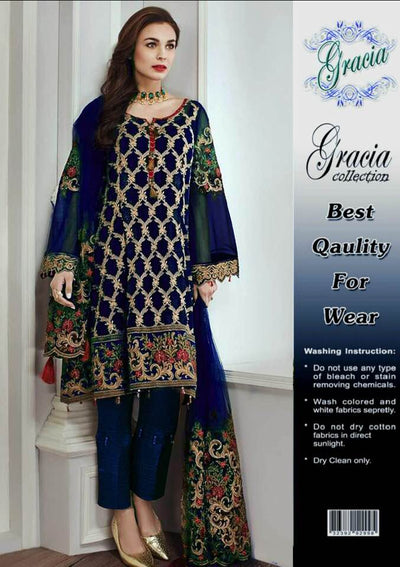 Baroque Chiffon Dresses - Embroidered Net Duppata - Replica - Unstitched