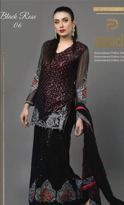 Party Wear Net Dresses - Embroidered Chiffon Dupatta - Replica - Unstitched