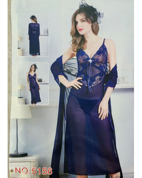 2 Pcs See Through Long Nighty With Robe - 5156
