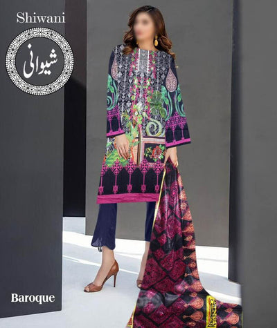 Baroque Cotton Dresses - Embroidered Lawn Dupatta - Replica - Unstitched