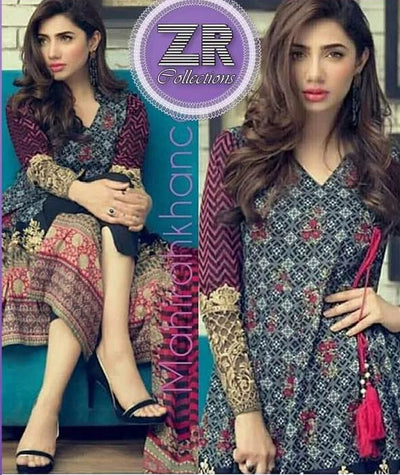 Party Wear Cotton Dresses - Embroidered Net Dupatta - Replica - Unstitched