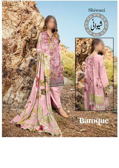 Baroque Lawn Dresses - Embroidered Lawn Dupatta - Replica - Unstitched