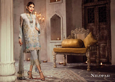 Anaya Net Dresses - Embroidered Net Dupatta - Replica - Unstitched