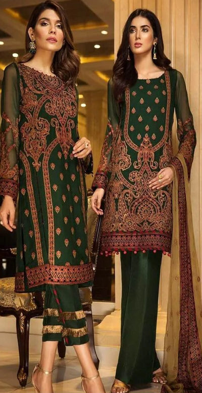 Baroque Chiffon Dresses - Embroidered Chiffon Duppata - Replica - Unstitched