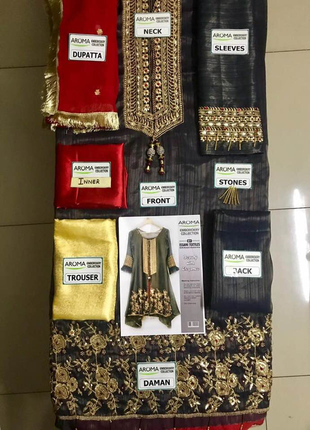 Party Wear Mysoori Dresses - Embroidered Chiffon Dupatta - Replica - Unstitched