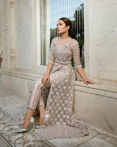 Erum Khan Net Dresses - Embroidered Net Dupatta - Replica - Unstitched