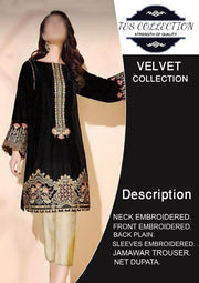 Party Wear Velvet Dresses - Embroidered Net Duppata - Replica - Unstitched