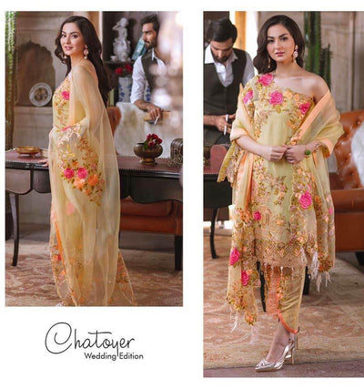 Rang Rasiya Chiffon Dresses - Embroidered Net Dupatta - Replica - Unstitched