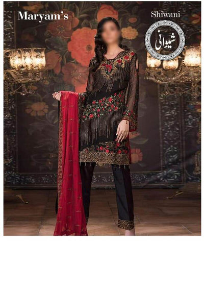 Maryum N Maria Cotton Dresses - Embroidered Chiffon Dupatta - Replica - Unstitched