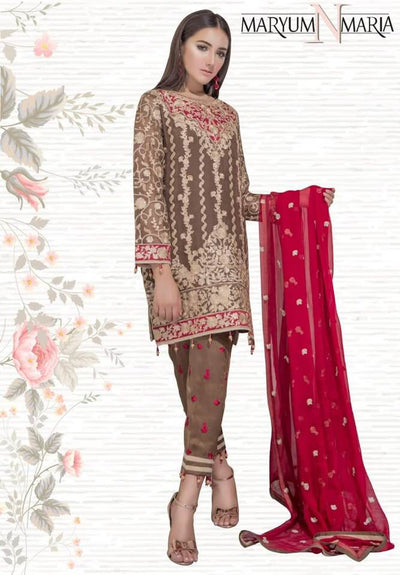 Maryum N Maria Chiffon Dresses - Embroidered Chiffon Duppata - Replica - Unstitched