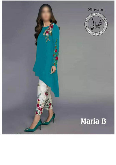 Maria B Cotton Dresses - Embroidered Net Dupatta - Replica - Unstitched