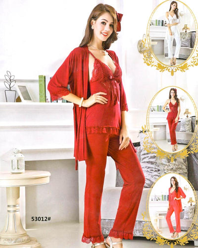 3 Pcs Slik Ladies Nightwear - 53012