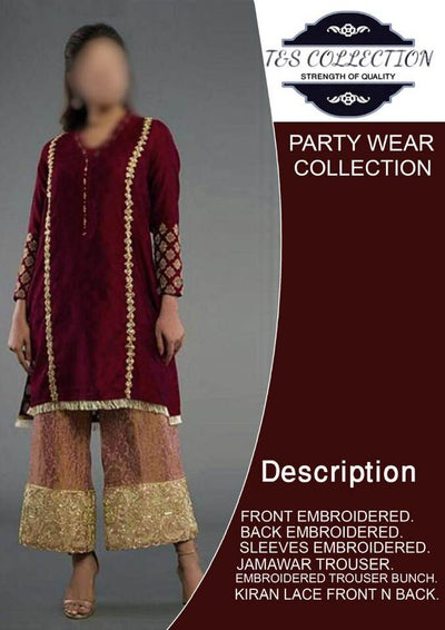 Party Wear Collection 2019 Party Dress -Replica -Unstitched