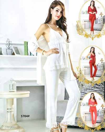 3 Pcs Slik Ladies Nightwear - 5704