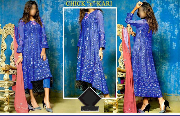 Chick N Kari Fabric Chiffon Dupatta Chiffon Trouser Malai Work Mirror - Replica - Unstitched