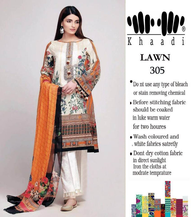 Khaadi Collection Lawn Suit With Chiffon Dupptta Neck Embroided - Replica - Unstitched