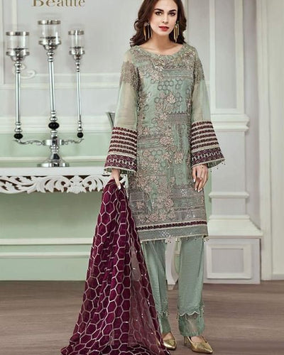 Jazmin Mysoori Dresses - Embroidered Chiffon Dupatta  - Replica - Unstitched