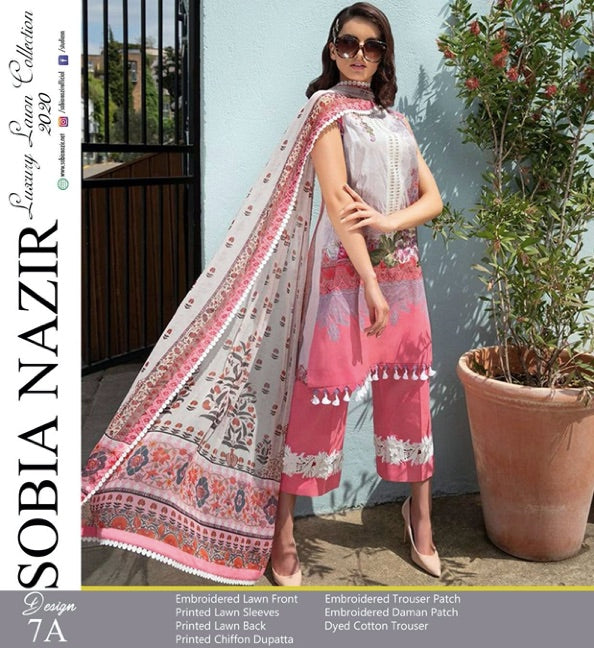 SOBIA NAZIR EMBROIDERED LAWN WITH CHIFFON DUPATTA  COLLECTION  Pure Lawn With Chiffon Duppatta