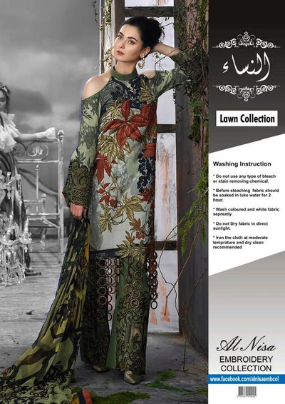 Asifa Nabil Collection Fabric Lawn With Chiffon Dupatta - Replica - Unstitched