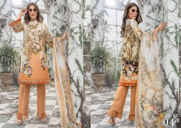 Firdous Collection Fabric Lawn Dupatta Chiffon Print Trouser Cotton - Replica - Unstitched