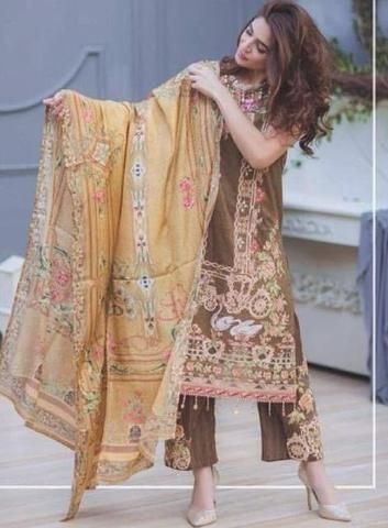 Rang Rasiya Lawn Dresses - Embroidered Silk Dupatta - Replica - Unstitched