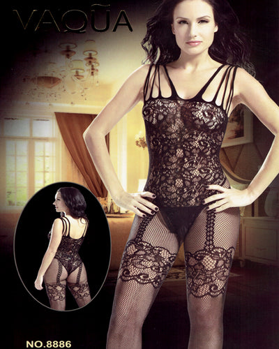 Vaqua Body Stocking Fishnet Dress - Ladies Sexy Net Dresses - 8886