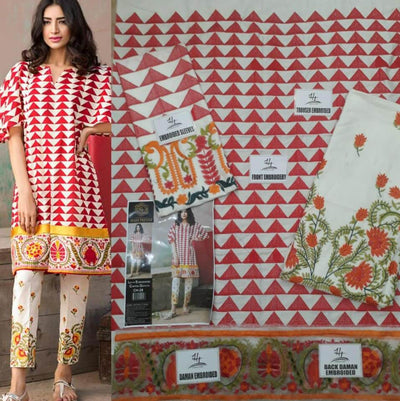 Khaadi Collection 2pc Fabric Lawn Heavy Front Embroidery - Replica - Unstitched