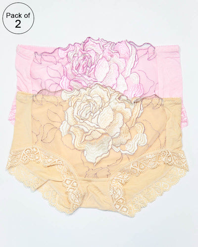 Pack of 2 Embroidered Lace Panty – AF-104 – Mix Colors